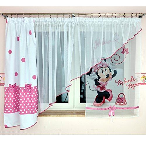 GMM-3 DISNEY Kindergardine für Mädchen / Kinder mit Motiv MINNIE MOUSE für Kinderzimmer / Mädchenzimmer / Vorhänge pink Rosa Geraffte Vorhänge