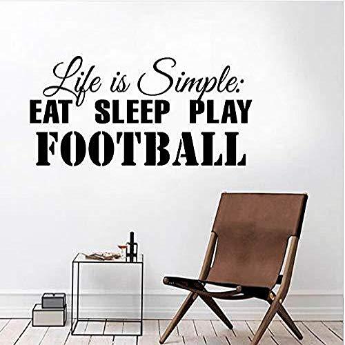 ljmljm Schwarz 28x59cmlife ist einfach zu Essen, schlafen Fußball (Justin Moore Aufkleber)