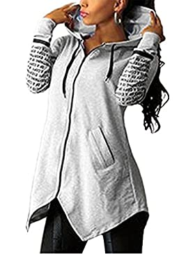 Sudaderas Mujer Chaqueta YOGLY Sudaderas con Capucha Cremallera de Manga Larga de Mujer Chaqueta Con Capucha Sudadera...