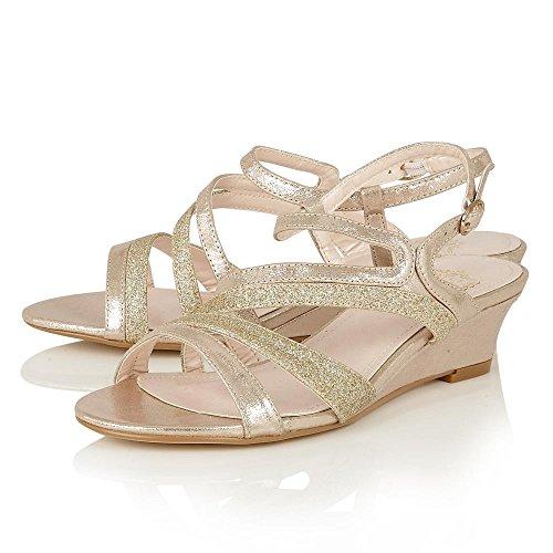 Lotus 50586 Hazeline Women's Wedge Sandals in Gold Gold Shimmer