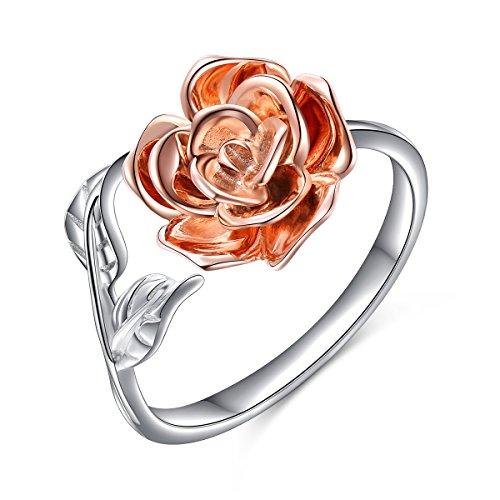 DAOCHONG Ringe für Damen S925 Sterling Silber Rose Blume Verstellbaren Ringen Romantisches Geschenk für Sie, Ring Größe 57