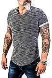 Rock Creek Herren Designer T-Shirt Rundhals Ausschnitt Kurzarm Oversize Shirt Sommershirt Slim Fit Sweatshirt H-151 XXL Anthrazit