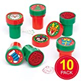 Baker Ross AT251 Christmas Self-Inking Stampers (Pack of 10) -Arts and Crafts for Kids, Assorted