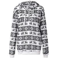 HWTOP Sweatshirts Hoodies Damen Mantel Oberteil Hemd T-Shirt Pullover Große Größen Weihnachten Kleidung mit Kapuzen Outwear Kapuzenpullover Wolle Langarmshirt Bluse mit Taschen Frauen Pulli Tops