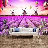 Mmneb Papier Peint Mural Personnalisé Salon Chambre Européenne Style Lavande Moulin...