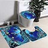 fomccu Badezimmer Rutschfeste Blue Ocean Stil Ständer Teppich + Deckel WC-Deckelbezug + Badteppich 3/Set