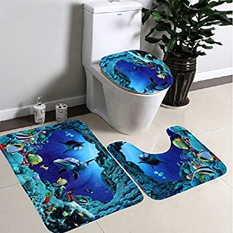 FomCcu Bathroom Non-Slip Blue Ocean Style Pedestal Rug + Lid Toilet Cover + Bath Mat 3pcs/set