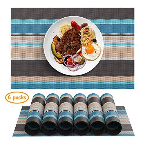 Chefic Tischsets, Premium Platzset Abwischbar 6er Set PVC rutschfest Platzdeckchen Abwaschbar, 45x30cm Platzsets Nicht absorbierende Schmutzabweisend Tischmatte (Blau/Braun, 6er) -