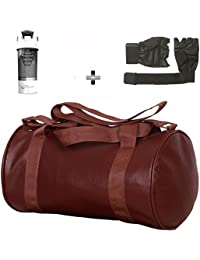 Brown Leather Gym Bag , Gloves And White Cyclone Shaker Shaker Bottle Combo Pack For Men|Women A Must Have Gym...