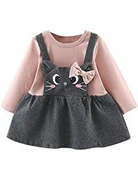 Logobeing Ropa Bebe Niña Manga Larga Arco de Dibujos Animados Gato Impresión Fiesta Princesa Vestido Tops