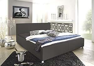 sam polsterbett 100x200 cm katja grau kunstleder. Black Bedroom Furniture Sets. Home Design Ideas