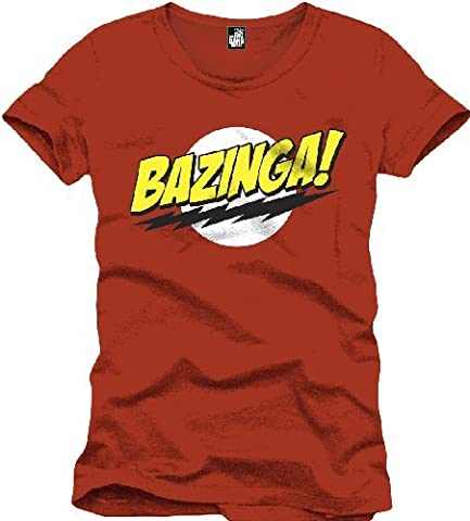 Big Bang Theory Herren T-Shirt Bazinga, Gr. Small (Herstellergröße: Small), Rot