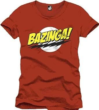 The Big Bang Theory Men's Bazinga Regular Fit Short Sleeve T-Shirt, Red, Small