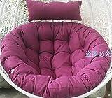 MSM Swing Coussin de Chaise, Rond Patio Jardin en Osier Suspendus de œuf Chaise de rotin Hamac Coussin, IndoOu Ou Plein air-Pourpre 105x105cm