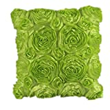 Ouneed Beautiful Floral Decorative Satin Throw Sofa Pillow Case Cushion Cover (Green)