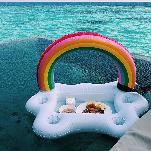 Pool Float Eimer Rainbow Cloud Cup Holder Aufblasbare Pool Float Bier Trinken KüHler Tisch Bar Tray Hawaii Partydekorationen -