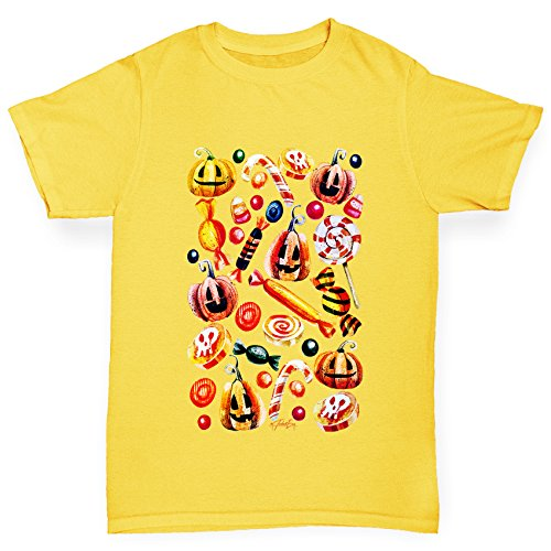 TWISTED ENVY Mädchen T-Shirt Trick Or Treat Candy Print Age 12-14 Gelb