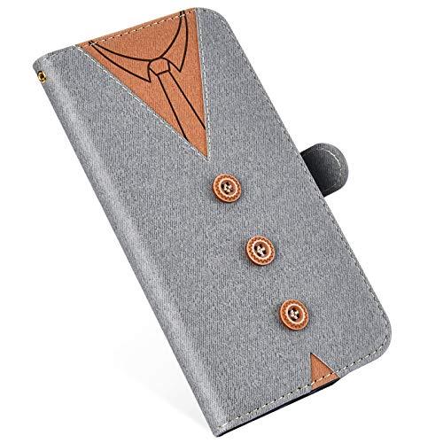 MoreChioce kompatibel mit iPhone 6S Hülle,kompatibel mit iPhone 6 Leder Flip Case, Fashion Grau Nähen Krawatte Stoff Schutzhülle Klapptasche Wallet Case Magnetverschluß mit Kartenfach,EINWEG