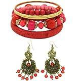 JEWELRY SET: Vintage Look Beads Dangle Hook Earrings & Multiple Bangle / Bracelet - Multicolor