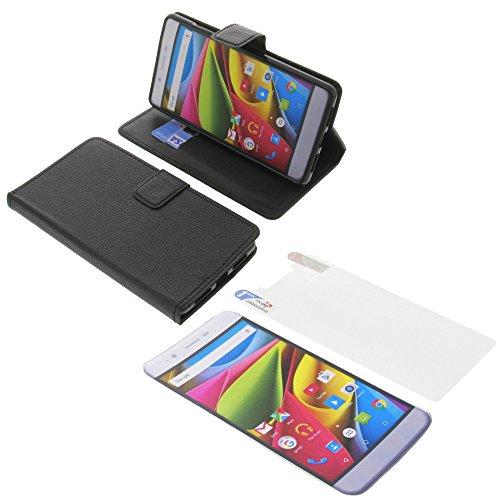foto-kontor Tasche für Archos 55 Cobalt Plus Book Style schwarz Schutz Hülle Buch + Schutzfolie