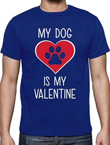My Dog Is My Valentine Valentinstag T-Shirt Blau
