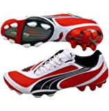 Puma V1.08 i FG Mens Fußballschuh / Cleats - Rot & weiß