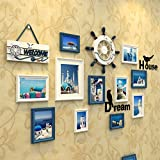 #9: WollWoll European Mediterranean Theme Wall Decoration Wood Photo Frame Set (157 cm x 2 cm x 80 cm)