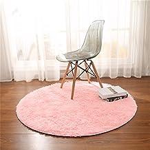 Alfombras, CAMAL Redonda Material de Lana de Seda Artificial Alfombras de Yoga para Sala de Estar Dormitorio y Baño (Rosa, 120cm)