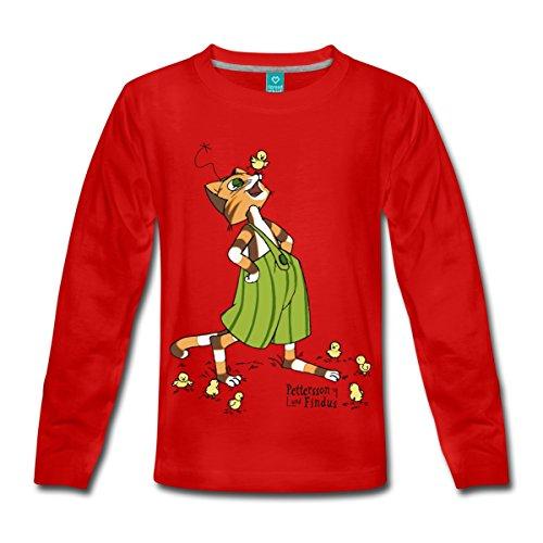 Küken Mädchen T-shirt (Spreadshirt Pettersson Und Findus Spielt Mit Süßen Küken Kinder Premium Langarmshirt, 98/104 (2 Jahre), Rot)