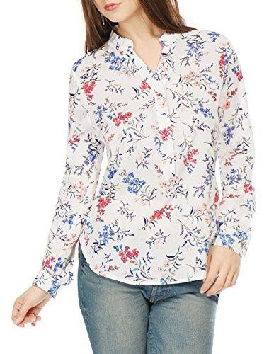 Allegra K Femme Manches Roulées ourlet haut/bas Chemise Floral Blue Red