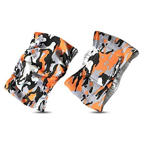 PETCUTE Camouflage Waschbar Männlich Hund Windeln Wraps (2er Packung) Komfort Haustier Welpe Bauch Bandwindeln Orange (Rüden Inkontinenz-wraps)