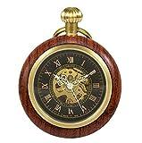 treeweto de madera Mecánico números romanos reloj de bolsillo reloj de bolsillo de cara abierta para hombres mujeres