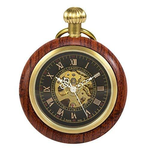 TREEWETO Holz Taschenuhr Retro Handaufzug Herren Mechanische Taschenuhren Skelett Uhr Römische Ziffern mit Kette und Geschenkbox