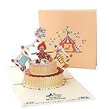 Biglietti augurali Compleanno per bambini,Deesos regalo di compleanno per il tuo bambino, biglietto di auguri pop-up 3D, busta inclusa (buon compleanno)