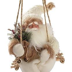 Figura decorativa de Navidad (diseño de Papá Noel con abrigo de piel, color blanco y marrón)