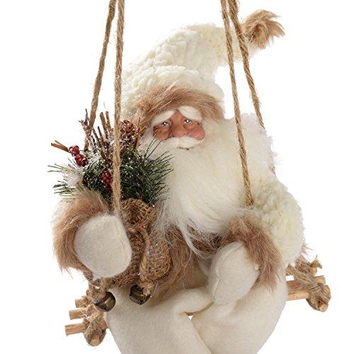 WeRChristmas - Decorazione natalizia, a forma di Babbo Natale con pelliccia su altalena, colore: bianco/marrone