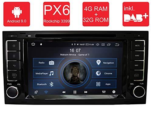 M.I.C.® AVT7 Android 9 Autoradio Naviceiver Moniceiver Navigation: PX6 RK 3399 4G+32G 8 Zoll IPS Bildschirm DAB+ Digitalradio Bluetooth USB Mirrorlink GPS CAM Canbus für Volkswagen T5 2009 Usb