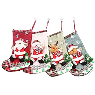 Tomister Juego de 4 Calcetines, decoración navideña, para Rellenar y Colgar