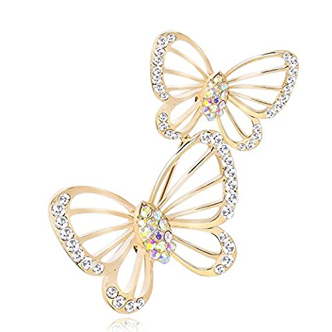 Lucky-Way Personalized Jewelry Clear Ab Crystal Gold-Tone Cute Hollow Butterfly Art Deco Bridal Brooch Pin