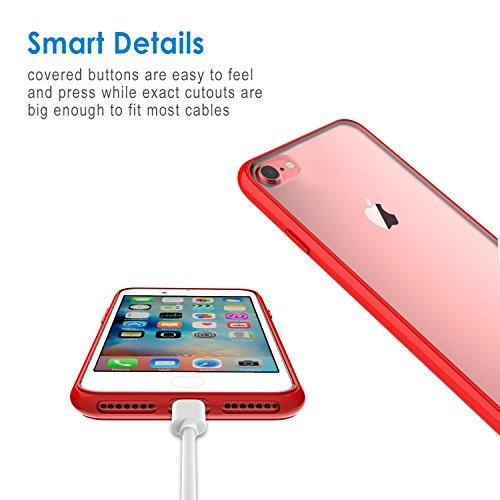 Coque iPhone 8 7, JETech iPhone 8 7 Case Coque Housse Etui Shock-Absorption Bumper et Anti-Scratch Effacer Back pour Apple iPhone 7 et iPhone 8 4.7 Inch (Noir) Rouge