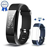 Fitness Tracker HolyHigh YG3 Plus HR Heart Rate Monitor Activity Tracker with Waterproof/Pedometer/Call Message Alert/Sleep Monitor/Control Camera Mode/Calorie/Sedentary Reminder for Android and iOS (Black+Blue)