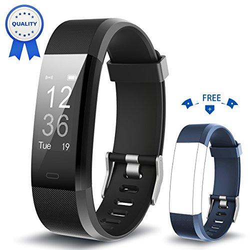 Pulsera Actividad HolyHigh YG3 Plus HR Monitor de ritmo cardíaco Seguimiento de actividad con impermeable/pedómetro/llamada Mensaje Alerta/monitor de sueño para Android e iOS (Negro + Azul)
