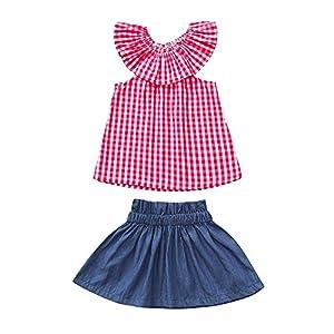 PLOT 2Pcs Baby Girls Plaid Ruffles Sleeveless T-Shirt Denim Skirt Clothes 1-3 T