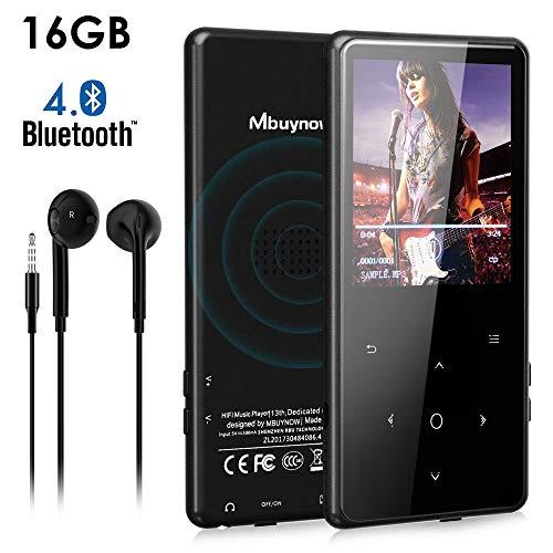 53cb27508ee MP3 Bluetooth 16GB, Mbuynow 2,4 Pulgadas Reproductor de MP3 Bluetooth 4.0  con Botón
