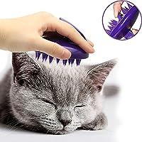 CELEMOON Cepillo para gatos, púas de silicona suave, lavable, para masajear y limpiar a tu gato, seguro y sin arañazos, color morado
