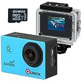 QUMOX WIFI SJ4000 Bleu Action Sport Cam Camera etanche Full HD 1080p 720p Video Helmetcam + 32GB micro SD, avec boîtier étanche