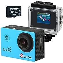 QUMOX WIFI SJ4000 - Cámara de Deporte para casco Impermeable, Video de Alta definición 1080p 720p + Una Tarjeta MicroSD 32GB, Color Azul