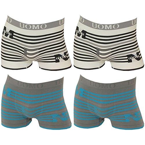 4er Pack Herren Boxershorts Microfaser mit Streifen in 4 verschiedenen Farben 2x grau/blau. 2x weiß/schwarz