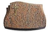 Generic Grabplatte, Grabstein, Grabkissen, Urnengrabstein, Liegegrabstein Modell Liberty 40 x 30 x 7 cm Raw Silk-Granit, Poliert inkl. Gravur (Bronze-Ornament Kreuz/Ähren)