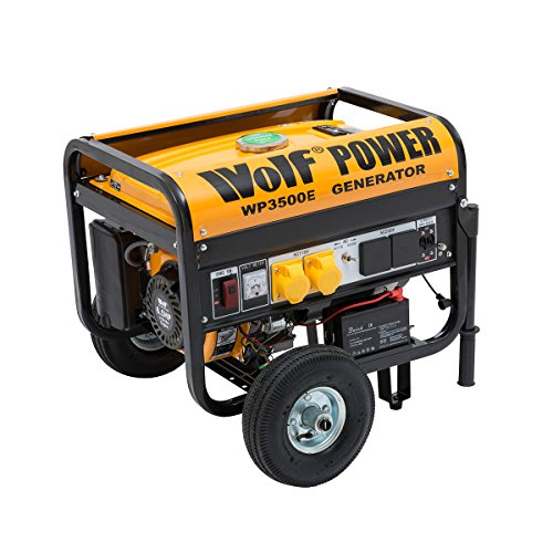Wolf Power WP3500E 3200 Watt 6.5HP 4 KVA, Heavy Duty Dual Voltage Electric Start Petrol Powered Generator with All Terrain Wheel Kit - 2 Year Warranty